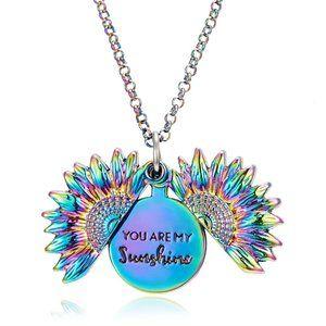 Necklace- NEW- Boho- You Are My Sunshine Sunflower